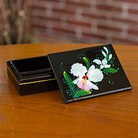 Lacquered wood box, 'White Orchid' - Fair Trade Lacquerware Floral Box from Thailand