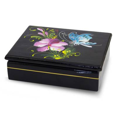 Lacquered wood box, 'Sweet Thai Blossom' - Thai Lacquered Wood Box Handpainted Flower and Butterfly