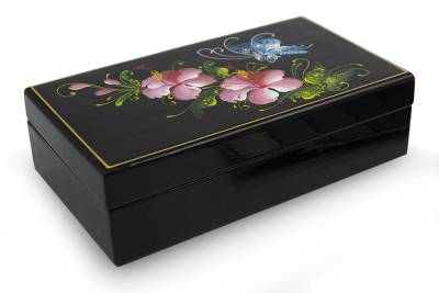 Fair Trade Thai Lacquered Wood Box Handpainted Handcrafted
