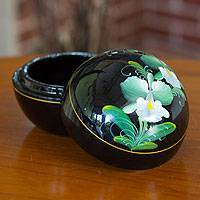 Lacquered wood box, 'Emerald Orchid' - Thai Lacquered Wood Round Decorative Box Handpainted Floral