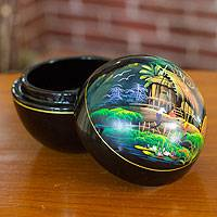 Lacquered wood box, 'Vibrant Village' - Thai Lacquered Wood Round Decorative Box Handpainted Village