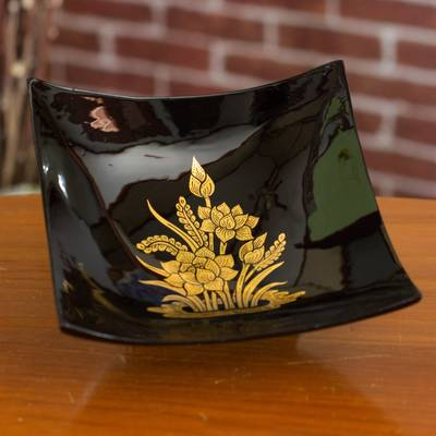 Lacquered decorative wood bowl, 'Golden Thai Lotus' - Fair Trade Thai Lacquered Wood Decorative Bowl