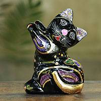Lacquered wood figurine, 'Dancing Thai Cat' - Artisan Crafted Thai Lacquered Figurine