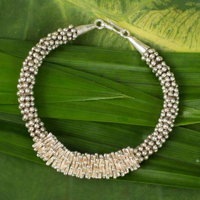 Silver beaded bracelet, 'Hill Tribe Beauty' - Silver beaded bracelet