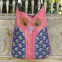 Cotton sling bag, 'Whimsical Red and White Owl' - Owl Applique Red Cotton Shoulder Bag