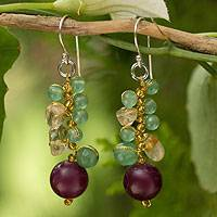 Citrine cluster earrings, 'Sweet Berries' - Colorful Gemstone and Sterling Silver Earrings