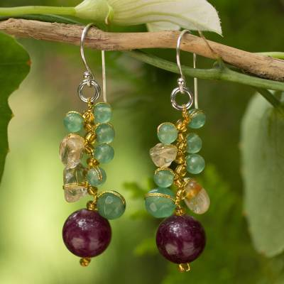 Citrine cluster earrings, Sweet Berries