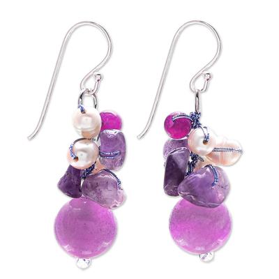 Handcrafted Pearl Amethyst Quartz Cluster Earrings
