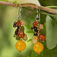 Garnet and carnelian cluster earrings, 'Sweet Tropics' - Handmade Garnet Carnelian Citrine Cluster Earrings