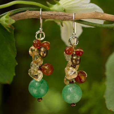 Cultured pearl and carnelian cluster earrings, 'Turning Leaves' - Handcrafted Pearl Carnelian Citrine Cluster Earrings