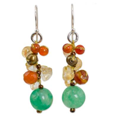 Handcrafted Pearl Carnelian Citrine Cluster Earrings