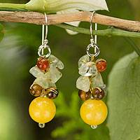 Tiger's eye and prehnite cluster earrings, 'Sweet Sunshine' - Tiger's Eye Carnelian Quartz Cluster Earrings