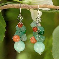 Cultured pearl and carnelian cluster earrings, 'Lemongrass' - Handcrafted Pearl Carnelian Quartz Cluster Earrings