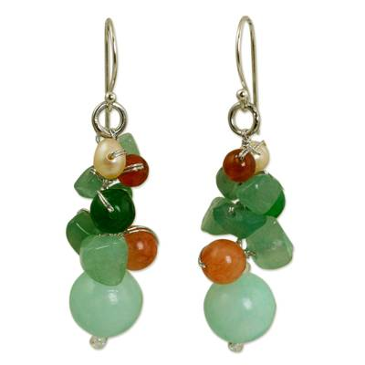 Handcrafted Pearl Carnelian Quartz Cluster Earrings