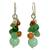 Cultured pearl and carnelian cluster earrings, 'Lemongrass' - Handcrafted Pearl Carnelian Quartz Cluster Earrings (image 2a) thumbail