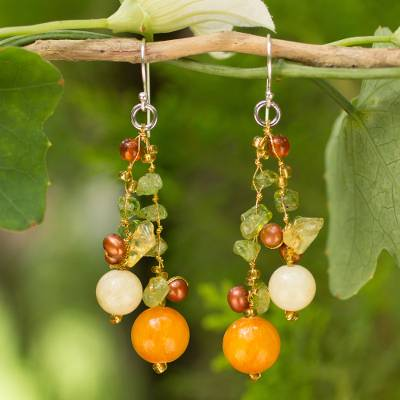 Cultured pearl and peridot beaded earrings, 'Citrus Party' - Pearl Peridot Quartz Cluster Earrings