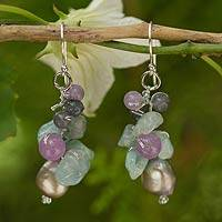 Cultured pearl and aquamarine cluster earrings, 'Clover' - Pearl Aquamarine Quartz Cluster Earrings