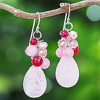 Rose quartz cluster earrings, 'Pink Rose' - Handcrafted Thai Quartz Cluster Earrings