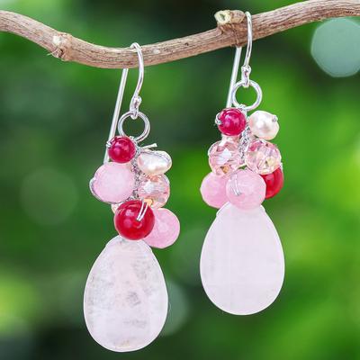 Rose quartz cluster earrings, 'Pink Rose' - Handcrafted Thai Quartz Cluster Earrings