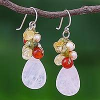 Rose quartz and peridot cluster earrings, 'Tropical Garden' - Quartz Carnelian Citrine Cluster Earrings