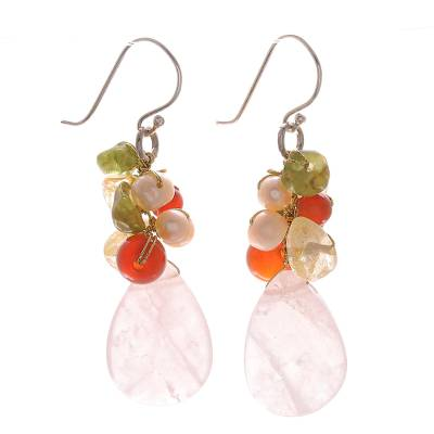 Quartz Carnelian Citrine Cluster Earrings