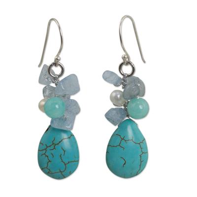 Handmade Pearl Aquamarine Blue Calcite Earrings Thailand