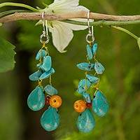 Beaded earrings, 'Tropical Sea' - Unique Turquoise Colored Handcrafted Earrings with Carnelian