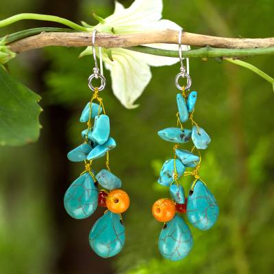 Beaded earrings, 'Tropical Sea' - Unique Turquoise coloured Handcrafted Earrings with Carnelia