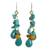 Beaded earrings, 'Tropical Sea' - Unique Turquoise Colored Handcrafted Earrings with Carnelian thumbail