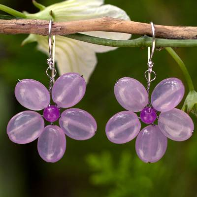 Dangle earrings, 'Lilac Chang Mai Flower' - Handmade Purple Quartz Flower Earrings