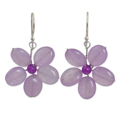 Handmade Purple Quartz Flower Earrings
