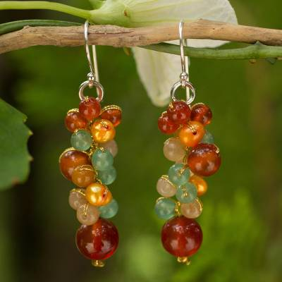 Cultured pearl and carnelian cluster earrings, 'Golden Vineyard' - Thailand Yellow Pearl Carnelian Quartz Cluster Earrings