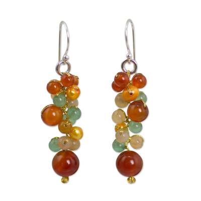 Thailand Yellow Pearl Carnelian Quartz Cluster Earrings