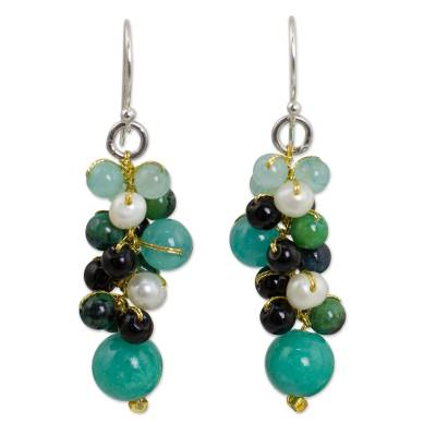 Thai Pearl Green Agate Quartz Cluster Earrings