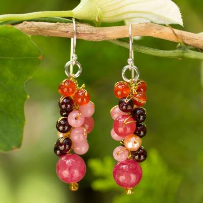 Cultured pearl and carnelian cluster earrings, 'Rosy Vineyard' - Beaded Pearl Carnelian and Quartz Handmade Earrings
