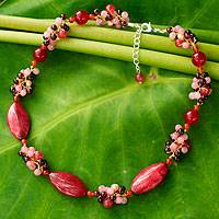 Cultured pearl and garnet choker, 'Red Lily Garland' - Fair Trade Thai Multigem Choker