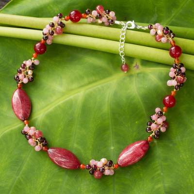 Cultured pearl and garnet choker, 'Red Lily Garland' - Artisan Crafted Pearl and Garnet Choker Necklace
