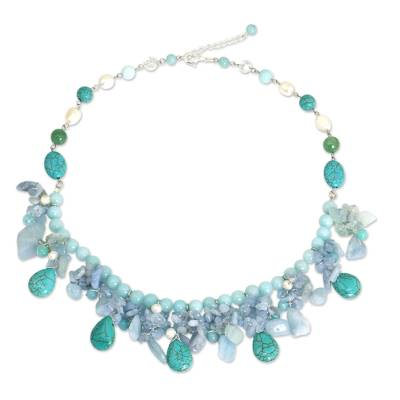 Artisan Crafted Pearl Aquamarine Blue Calcite Necklace