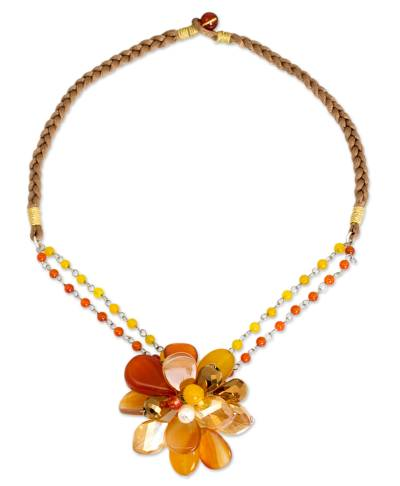 Handmade Pearl and Carnelian Flower Necklace with Quartz