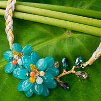 Aquamarine flower necklace, 'Blossoming in Blue'