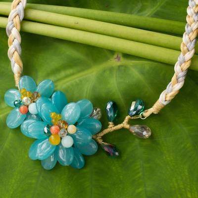 Aquamarine flower necklace, 'Blossoming in Blue' - Aquamarine and Blue Quartz Floral Necklace