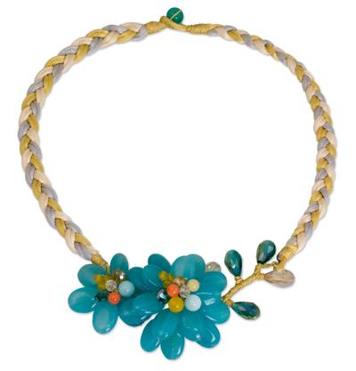 Aquamarine and Blue Quartz Floral Necklace