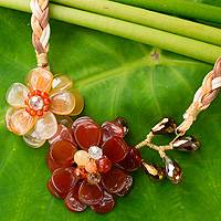 Carnelian flower necklace, 'Ginger Blossoms' - Carnelian and Quartz Handmade Floral Necklace