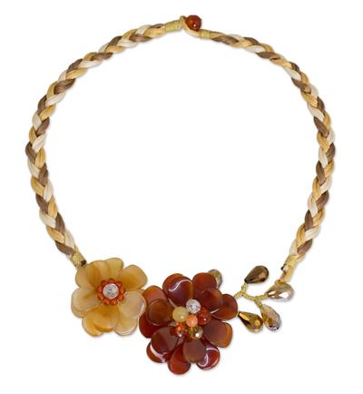 Carnelian and Quartz Handmade Floral Necklace
