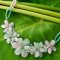 Rose quartz and aventurine flower necklace, 'Spring Floral' - Handcrafted Gemstone Necklace from Thailand