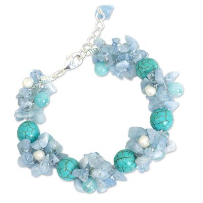 Handmade Pearl Aquamarine Blue Calcite Bracelet Thailand