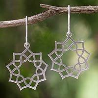 Sterling silver dangle earrings, 'Thai Suns' - Artisan Jewelry Sterling Silver Earrings