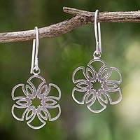 Sterling silver dangle earrings, 'Frozen Snowflakes' - Women's Sterling Silver Earrings Artisan Jewelry