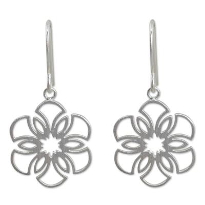 Sterling silver dangle earrings, 'Frozen Snowflakes' - Women's Sterling Silver Earrings Artisan Jewelry