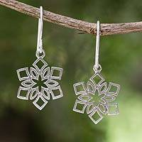 Sterling silver dangle earrings, 'Blossoming Snowflakes' - Artisan jewellery Women's Sterling Silver Earrings